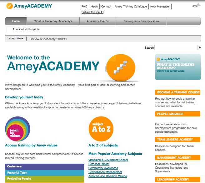 Amey Academy – Intranet